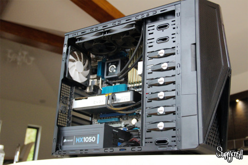 Intel 950 i7 Processor 3.02GHZCorsair H100 CPU Water Cooler1050 Watt Corsair Semi-Modular PSUDual 500GB (1TB) Seagate Barracuda Hard DrivesEVGA 4GB GTX 670 Graphics CardLiteon Blu-Ray Drive12GB Gold Plated OCZ DDR3 1333MHz RAMAsus Xtreme Design P6X58D-E MotherboardNZXT Hades CaseShe uses two screens, one 42 Inch HD Plasma TV and a 24 Inch computer screen. Recently rebuilt, cleaned wiring, enhanced airflow due to removal of unnecessary SSD brackets. Recently installed a 5.1 surround sound system alongside. That's how we do.She's ready for the Overclock - stay tuned.
