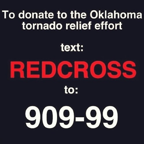 heyfunniest:  Support the @RedCross to provide much needed aid & supplies to tornado victims. Donate: http://redcross.org  or text REDCROSS to 90999. Reblog and Spread. Thanks~