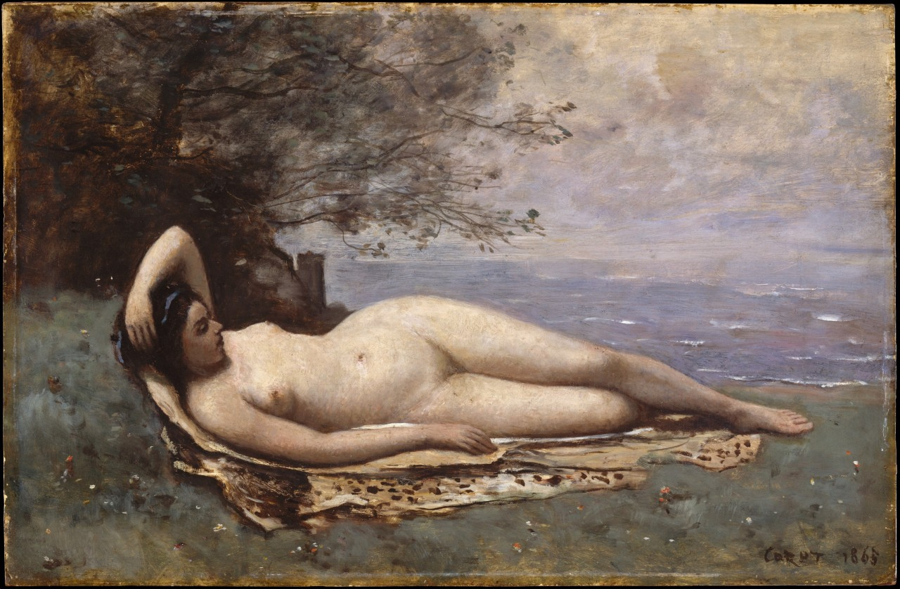 Bacchante by the Sea (1865), artwork by Camille Corot (french painter, 1796–1875).