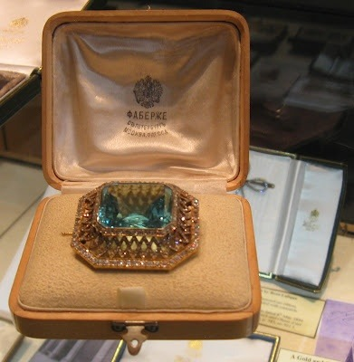 "tearsoftheromanovs:  FABERGE Siberian Aquamarine & Diamond Brooch-a gift from Nicholas II to Alexandra which she was wearing right up until the time of her murder July 17, 1918.  The case does say Faberge. However, Yurovsky took all of the valuables the family had on their persons and locked them up ""for safe keeping"" when he took over at the Ipatiev House. Alexandra Feodorovna was certainly not wearing this item at the time of her murder. The only items that they were allowed to wear openly were gold bracelets that Alexandra and the girls received at the age of twelve, wedding rings, and Alexei kept his watch so he wouldn't be bored. The women did have jewels sewn into their clothing when they were killed but obviously not with the boxes.  Based on this picture there is no way to tell whether or not this genuinely belonged to the Empress. It would be nice to know more about the item's provenance. Where did this picture come from? How do we know this item did in fact belong to Alexandra Feodorovna? Is there documentation?"