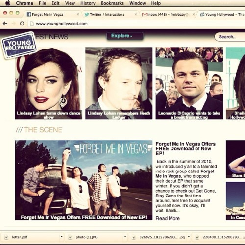 "We're on the front page of Young Hollywood right now for ""Coulda-Shoulda"" under Leo and Ledger :O go check it out! Younghollywood.com #fmiv #forget #me #in #vegas #younghollywood"