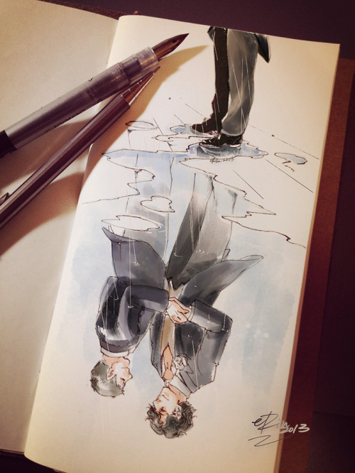 erinpaint:  The rain and the wedding.  Sometimes beautiful works, like this one, just stick with you.  Those moments in life when there are 2 paths - the one you've taken and the one that had could have been.  Bravo eRin!