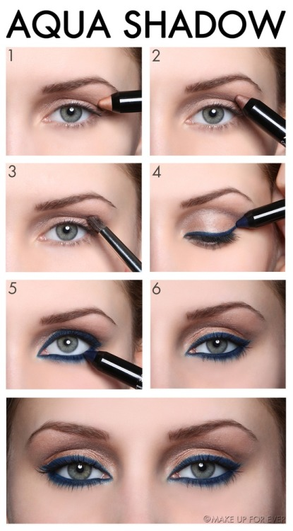 makeupforeverusa:   Simple Steps to the Perfect Eye with Aqua Shadow Step 1 Apply Aqua Shadow #28 directly onto the upper eyelid starting from the lash line and working up to the brow bone to create a highlighting effect. Step 2 Apply Aqua Shadow #20 to the crease of the eyelid without defining the outer corner (open banana) and then blend it toward the top using the 14S Brush with forward and backward movements from the outer corner to the inner corner of the eye. Blend quickly before the texture dries.  Step 3 Blend it (step 2) toward the top using the 14S Brush with forward and backward movements from the outer corner to the inner corner of the eye. Blend quickly before the texture dries. Step 4Draw along the upper lash line with Aqua Shadow #6, making sure that the lead is well sharpened. Then blend in the color using the Brush 2S starting from the outer corner working toward the inner corner to achieve a smoky finish. Do not forget to apply color between the lashes for maximum intensity. Step 5Draw along the lower lash line and color in the rim for a more intense result. Step 6Finish by applying Aqua Smoky Lash mascara. For an intense result, repeat the application.  Have to try this!