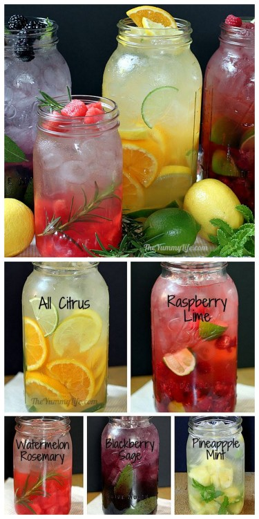 truebluemeandyou:  DIY Naturally Flavored Herb and Fruit Water Recipes and Instructions from The Yummy Life here. Lots of tips for making this cheap alternative to soda with simple recipes. citrus blend raspberry lime watermelon rosemary blackberry sage pineapple mint