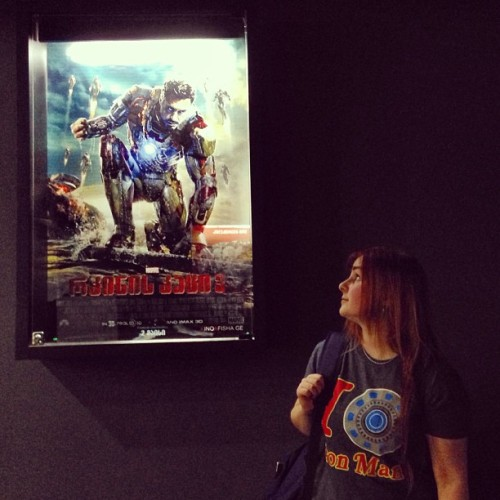 Rocking @sophie_doodles Iron Man tee @ #IronMan3 premiere ^^  (at Rustaveli Cinema)