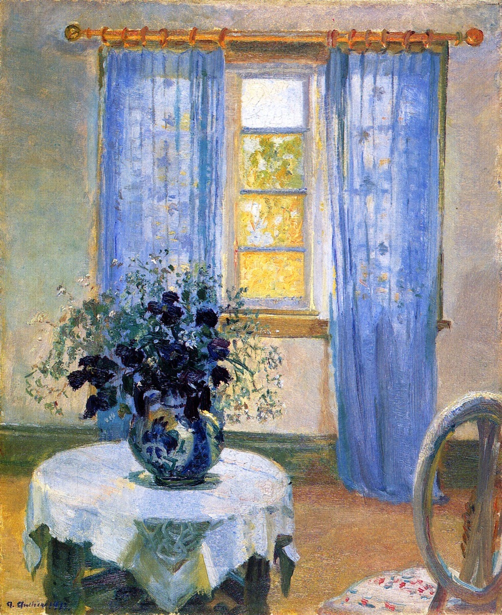 "artsandcrafts28:  ""Interior with Clematis"" Anna Ancher 1913"