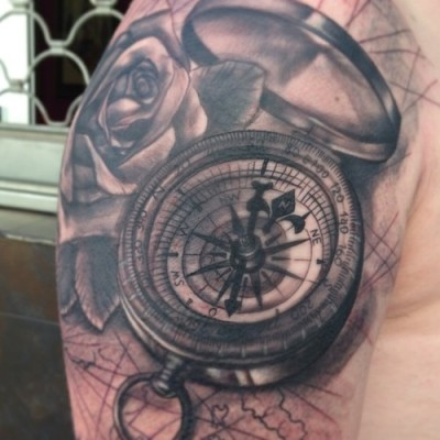Compass rose half sleeve by Jose Gonzalez at Ink-in Tattoo (Marbella, Spain) www.inkintattoo.com