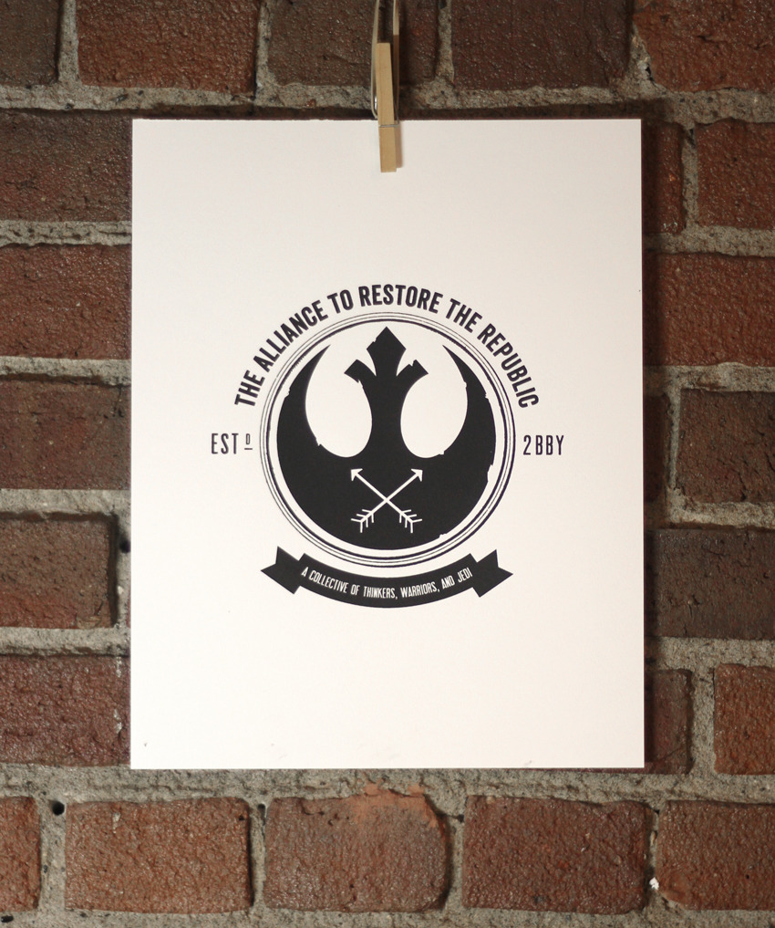 May the Fourth be with you! This is one of my two prints that'll be featured in Hot Art Wet City's upcoming Star Wars/Trek-themed art show. I figured it would be sacrilege to post something Star Trek related on this day. So I'll post pics of both pieces this week prior to the opening. <3