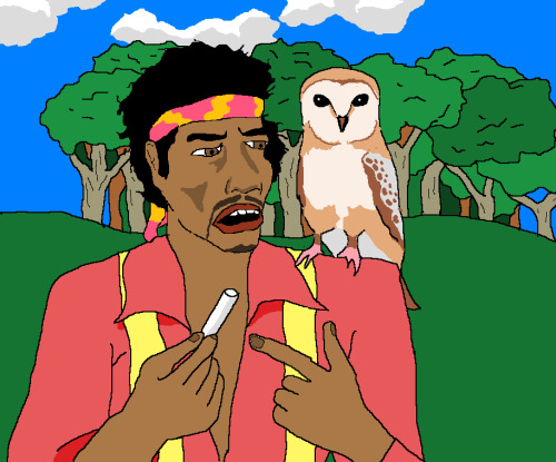 jimllpaintit:  Dear Jim, Please paint me Jimi Hendrix explaining to an owl on his shoulder what a stick of chalk is, near a forest. Thanks, onemariannestephen