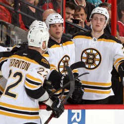 nhlbruins:  Thornton skates down the B's bench after scoring his 2nd goal of the season vs OTT #nhlbruins