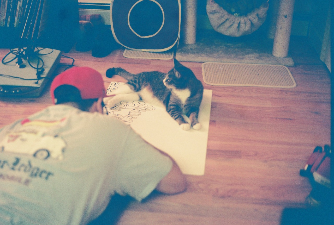 queenofantisocial:  Boyfriend and our one cat, Ash, who just loves to plop himself down where it's convenient.