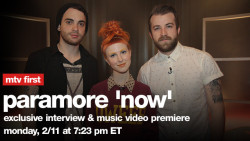 paramore:  The new music video for 'Now' premieres tonight at 7:23pm EST (00:23 GMT) on MTV.