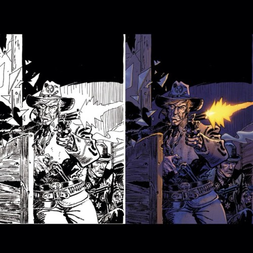 What I get, and what I do with it: Jonah Hex cover for DC comics. Art by the powerful Jordi Bernet.  Colors by me. #comics #comicbookcovers #comicbooks #art #illustration #digitalpainting #digitalcoloring #dccomics #love #jonahhex #jordibernet #hashtagabuse