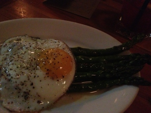 A very late night breakfast of asparagus and egg with foie gras butter.