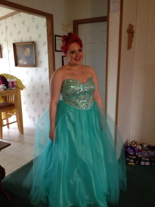 "Hey lovely fatties! I just wanted to show off my AMAZING prom get up! My senior prom was May 11th, 2013 and I have to admit, I was super nervous at first. I'm not one for big poofy dresses or prom style anything, but I'm so glad I went. I've been down on my luck lately and I've been feeling the effects of my depression. For those who don't know I've been in recovery for Binge Eating Disorder and self harm since December. I was beginning to fall off track and my prom night was exactly what I needed to clear my mind. Not only did I look and feel babely, but when I got to prom I got HUNDREDS of compliments along the lines of ""you look just like the little mermaid!"" and ""You're one of the prettiest girls here!"" And although I'm not one who likes to be noticed and be the center of attention, the fact that people KNEW I felt fabulous and how they expressed to me that I looked lovely and at ease with myself gave me a huge booster and it was just what I needed to continue my journey of self love. I've come a long way in my 4 years of high school and my graduation ceremony is Sunday May 19th and I think finding the self acceptance community has been the most positive thing to happen to my life and I'm glad I found it when I did, so thanks to this blog and many others I'm becomming the fat babe I know I am! U.S size 14/16 and lovely!!"