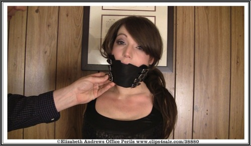 Being gagged with a 8 buckle bishop gag - http://www.clips4sale.com/38880/7565111 -Elizabeth Andrews : Lascivious Holiday Party