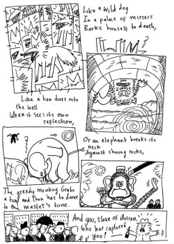 Sketchbook comic of the Kabir poem 'Illusion'.