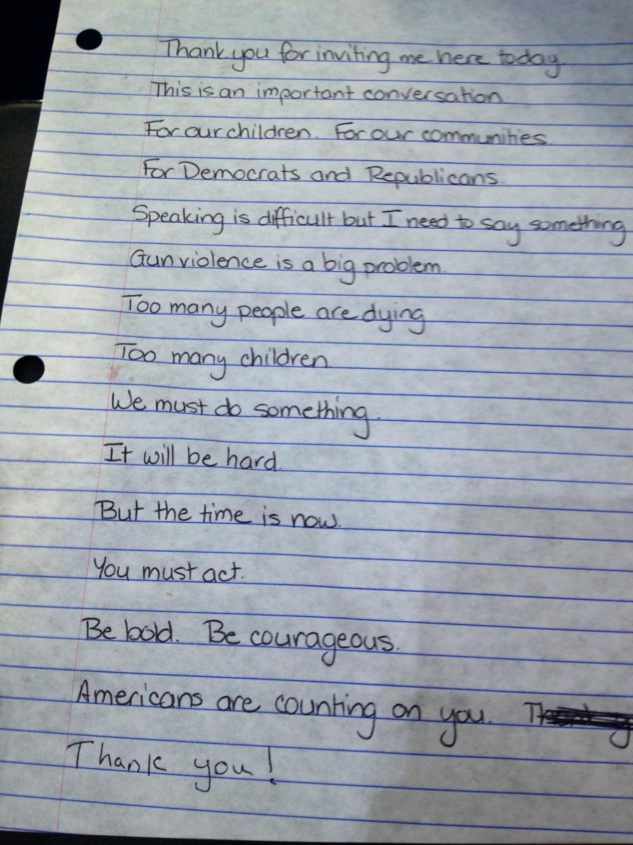 briancolligan:  Gabby Giffords' handwritten speech to the Senate Judiciary Committee on Gun Violence, delivered today. Click through for a source and maybe some solutions.   Awesome.