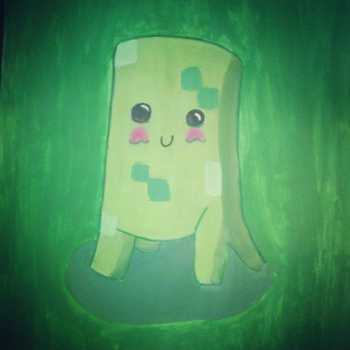 rhyanofficial:  #Creeper from #minecraft #tekkit #inspired #art #painting#cute#kawaii#realistic#loljk#bored
