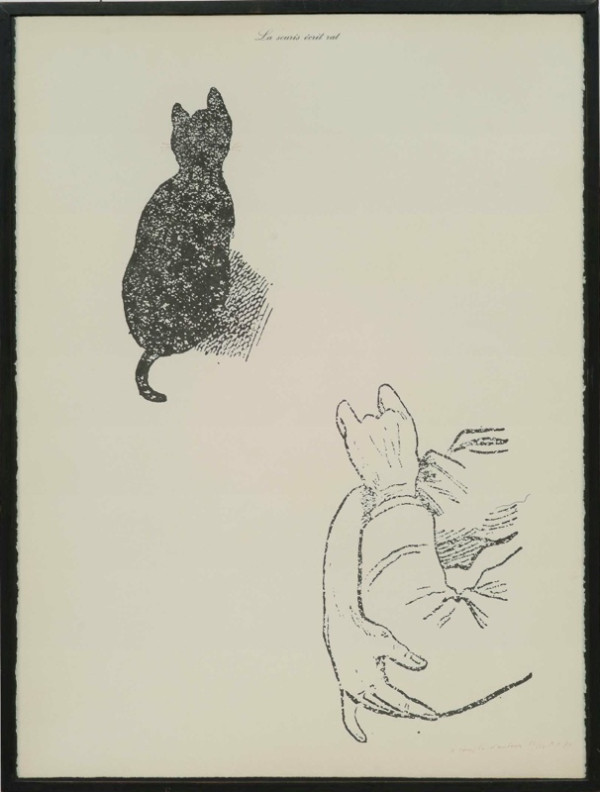 "(via MARCEL BROODTHAERS, ""La souris écrit rat"". on Twitpic) —— HT : Larry."