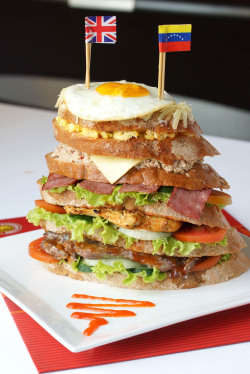 Sandwich Tower. From bottom to top: Sirloin Steak, Chicken Breast, Smoked Beef, Tuna & Cheese, Scrambled Egg, Cheese & Sunny Side Egg. Omo~ They have this challenge, if you can finish the sandwich in 5 minutes then you'll get it for free! Photo for Sandwich Time.