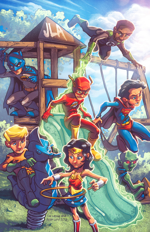 youngjusticer:  Epitome of my childhood. :') Mini JLA, by Tim Lattie and Ryan Lord.
