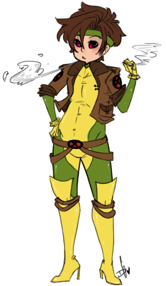 Gambit in Rogues outfit….idk, I see a lot of pics with her in his….so I think this needed to exist.