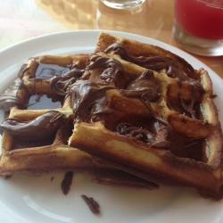 khyatimashru:  Nutella waffles #waffles #nutella #breakfast #love #food #maple