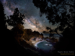 "thescienceofreality:  Galaxy Cove Vista  Image Credit & Copyright: Rogelio Bernal Andreo (Deep Sky Colors) ""To see a vista like this takes patience, hiking, and a camera. Patience was needed in searching out just the right place and waiting for just the right time. A short hike was needed to reach this rugged perch above a secluded cove in Julia Pfeiffer Burns State Park in California, USA. And a camera was needed for the long exposure required to bring out the faint light from stars and nebula in the background Milky Way galaxy. Moonlight and a brief artificial flash illuminated the hidden beach and inlet behind nearby trees in the above composite image taken about two weeks ago. Usually obscured McWay Falls is visible just below the image center, while the Pacific Ocean is in view to its right."""