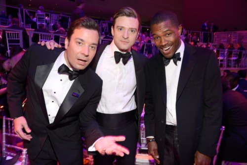 "Jimmy Fallon, Justin Timberlake and Frank Ocean celebrate their selections as three of the 100 most influential people in the world, according to Time magazine, at the Time 100 gala on April 23 in New York. *insert ""Suit & Tie"" pun here*"