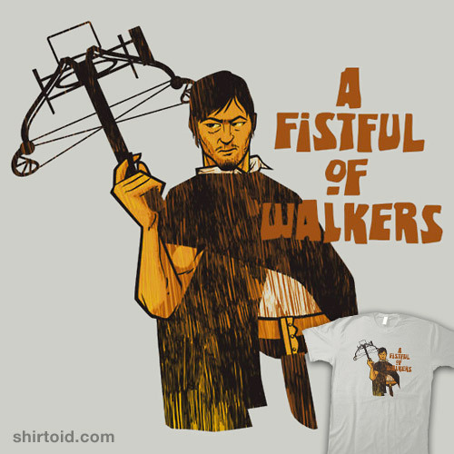 shirtoid:  A Fistful of Walkers! by Nik Holmes is available at Redbubble  A lot of these franchise mashup shirts are pretty boring, but this one is a definite winner.