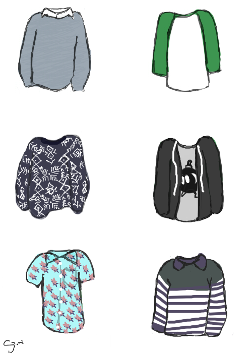 i drew a few of my favorite shirts that pj wears
