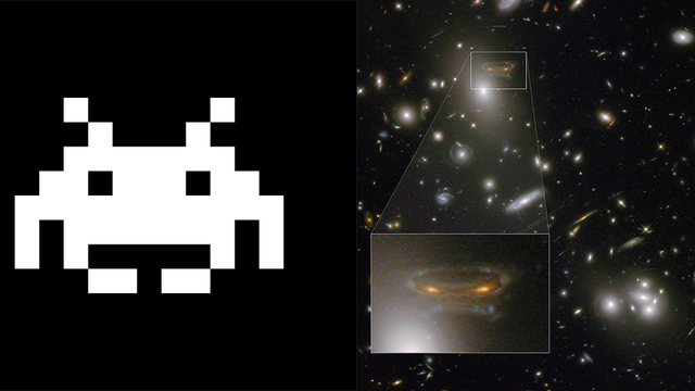 So, NASA Found A Space Invader Prepare the laser canons! NASA's Hubble Telescope scoped out a harbinger of death and destruction headed right for Earth!  NASA explains that the gravitational field surrounding the galaxies works like a magnifying glass, brightening and stretching light from far away. So you're seeing stretched and mirrored images—a phenomenon known as gravitational lensing—that just happens to look like a space invader.   That's what they WANT you to think!