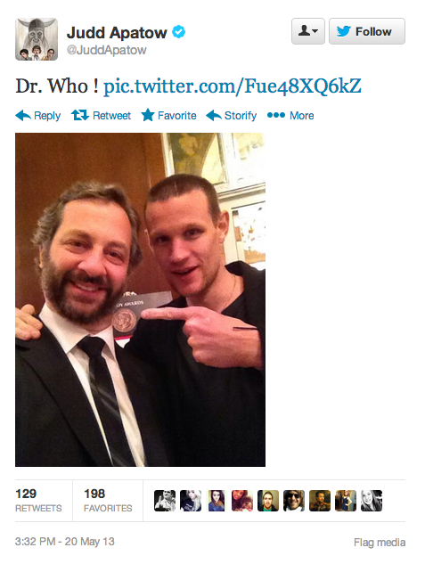 doctorwho:    @JuddApatow: Dr. Who ! pic.twitter.com/Fue48XQ6kZ   Is anyone else freaking out the Matt shaved his head?