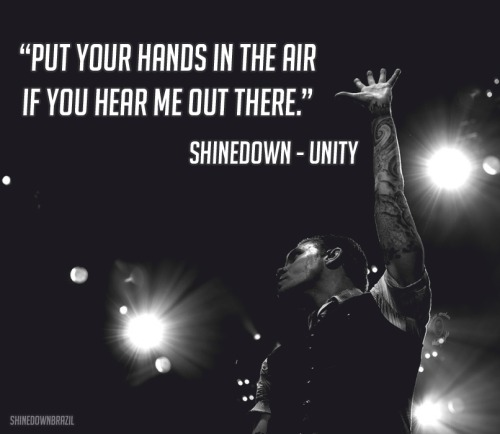 "shinedownbrazil:  ""Put your hands in the air, if you hear me out there."" Shinedown - Unity"