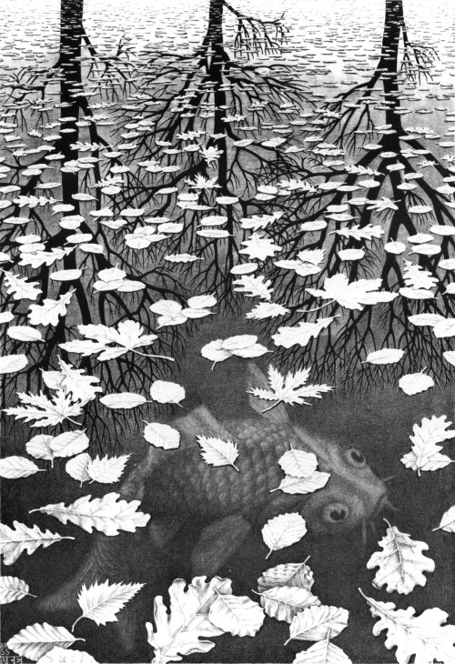 Three Worlds, 1955 M.C. Escher