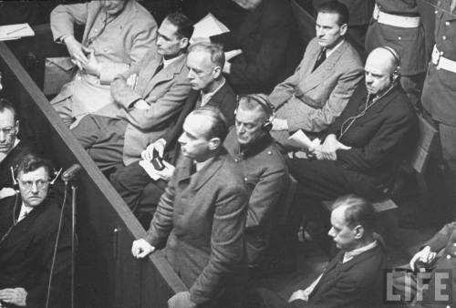 Hans Frank pleading &#8220not guilty&#8221 at the start of the Nuremberg trial