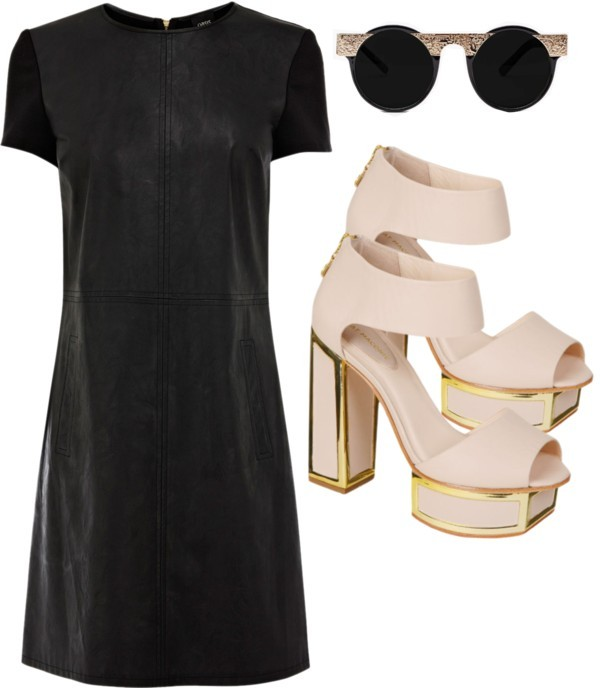 VI by femmekitten featuring platform heelsOasis  dress, $70 / Kat Maconie platform heels, $355 / Circle sunglasses