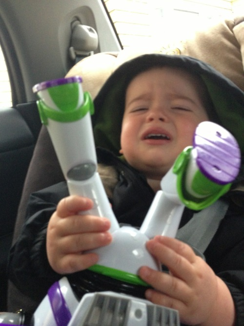 reasonsmysoniscrying:  Buzz Lightyear's knee is bent.  One of the little boys I keep has this Buzz Lightyear doll (or at least a huge one like it that talks and karate chops). This kid swore up and down that his Buzz was THE Buzz, and he was really talking TO HIM. So he wasn't connecting his constant button-smashing with Buzz's constant kung-fu action. He would squeeze the doll, Buzz would yell and chop the little boy in the face, little boy would cry and beg Buzz to stop. This went on all night, because he didn't dare put Buzz down because it was obviously THE REAL BUZZ LIGHTYEAR.