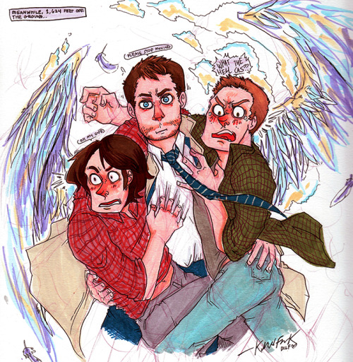 another giveaway! castiel giving sam and dean a lift for castielsbunkbuddy ^O^ oh cas
