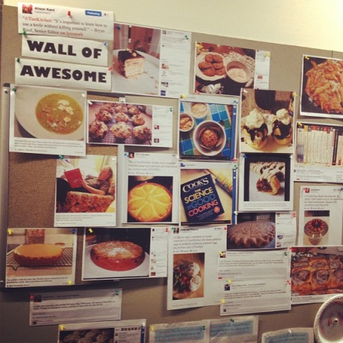 Our Wall of Awesome fills up quickly with your fabulous fan photos. Do you recognize any? (A live Instagram snapshot from the Test Kitchen. http://instagr.am/p/UMVK5bLkbs/)