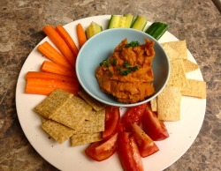 Sundried Tomato White Bean Dip w/veggies, TJ's Woven Wheats, and TJ's Baked Lentil Chips Dinner from the HH meal recipes.    Yum!   This week's recipes are turning out extra yummy.