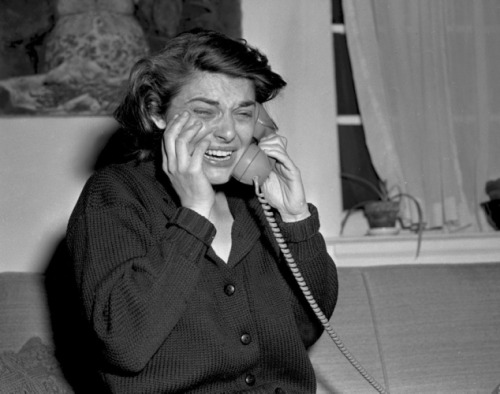 "Anne Bancroft receiving a congratulatory phone call for her Best Actress win for her work in ""The Miracle Worker"" in 1963"