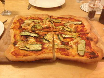 Pizza - courgette and tallegio. Pizza dough from Jamie - http://www.jamieoliver.com/recipes/uncategorised-recipes/pizza-dough
