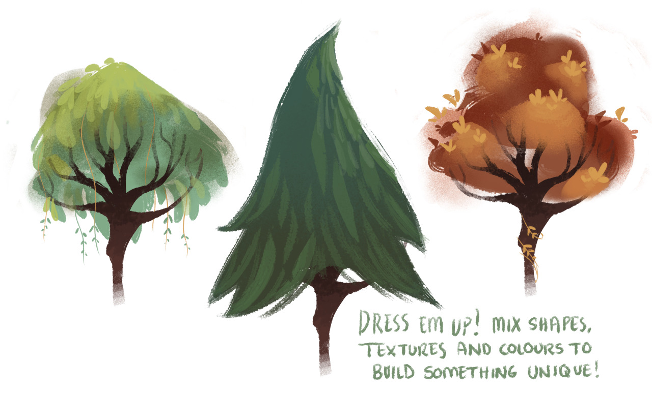 redblooper:  dommifox:  A couple people asked me how I vary my leaves and trees and honestly, it's super easy! I've never made a tutorial/guide before so I kept this mega simple but I hope someone out there might find it useful at least! Also, anyone can download the brushes I use for all my art on my tumblr page (: I only use around 5 so go nuts haha  Wow! Reblogging this for reference. I gotta start drawing more backgrounds.