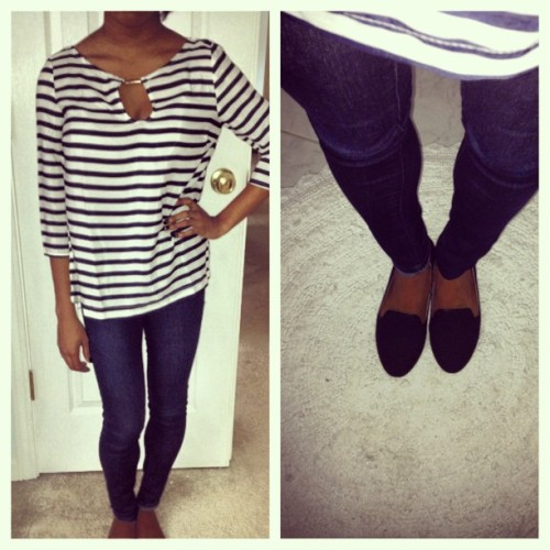 #ootd #tuxedoshoes #stripes #collegefashionista