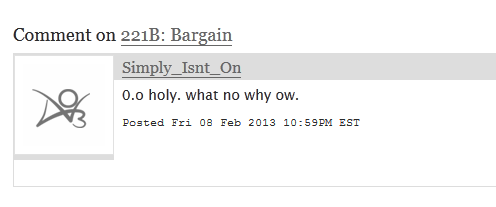 Any advice on how to respond to this comment on one of my old fics? I appreciate comments on my fics, and I try to show that by responding to them in some way — but I'm not sure what to do with this… Thanks!