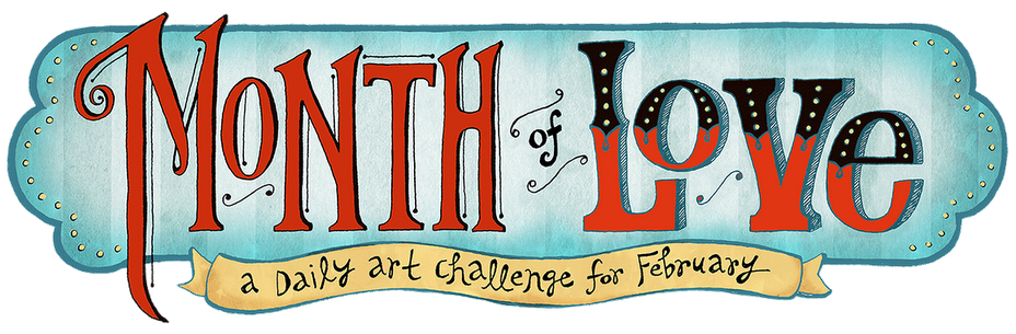 During the month of February a group of illustrators and myself will be creating an illustration per day on the theme of love.   I am really quite excited to be part of this and am hoping it will break my 5-year hiatus from art.  Working at the Society is great, but it really puts pressure on me to create good art when I'm surrounding by such talented colleagues.  I think sharing this art on a blog with people I admire so much will force me to follow through with it.  It will be interesting to see if my confidence builds in 28 days. You can check out my first illustration on the Month of Love blog!  Many thanks to Kristina Carroll for organizing this and to Jeanine Henderson for creating this awesome header!