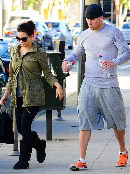 Channing Tatum and pregnant wife Jenna leaving the gym together.