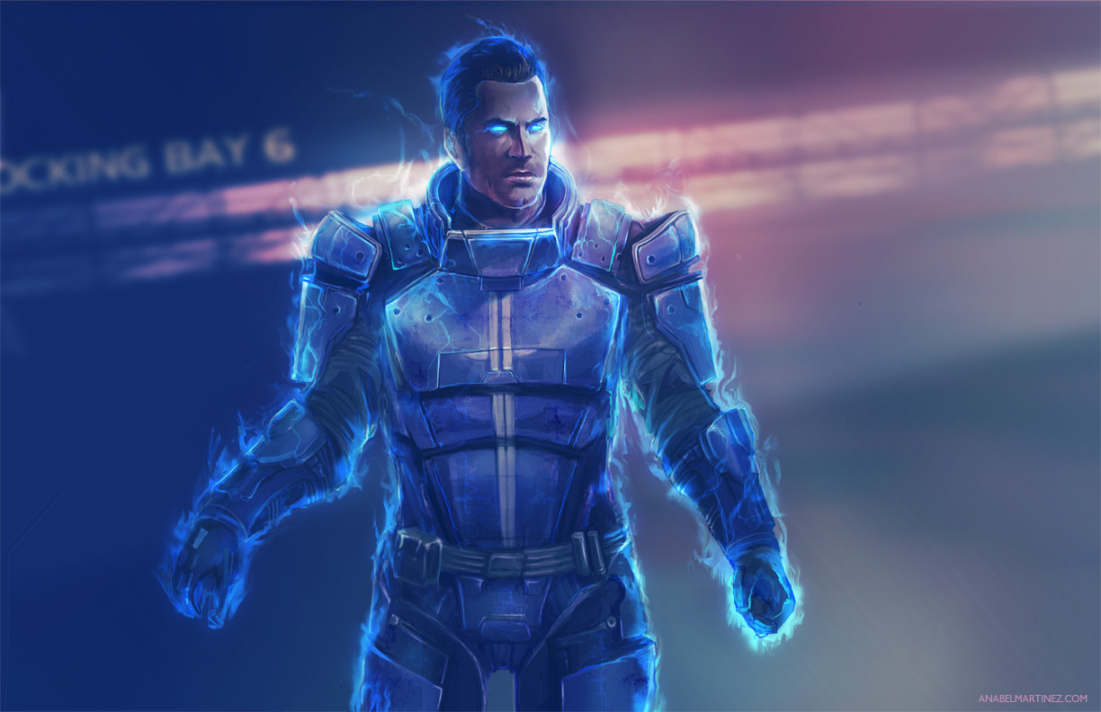 Kaidan Returns | by Anabel Martinez   My effort to fulfill a Secret Santa request and improve my skills (thank you for your patience, Sinvraal!). In comparison, here is my original Kaidan piece. I can't wait to see how my art improves from this point!
